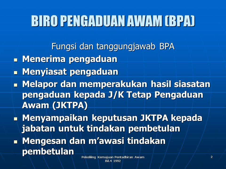 Pekeliling Kemajuan Pentadbiran Awam Bil.4 1992 2 BIRO PENGADUAN AWAM (BPA) Fungsi dan tanggungjawab BPA Menerima pengaduan Menyiasat pengaduan Melapo