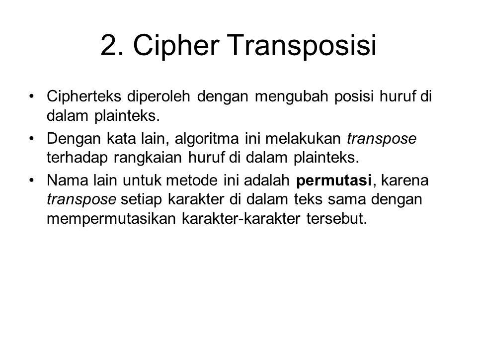 2. Cipher Transposisi Cipherteks diperoleh dengan mengubah posisi huruf di dalam plainteks. Dengan kata lain, algoritma ini melakukan transpose terhad