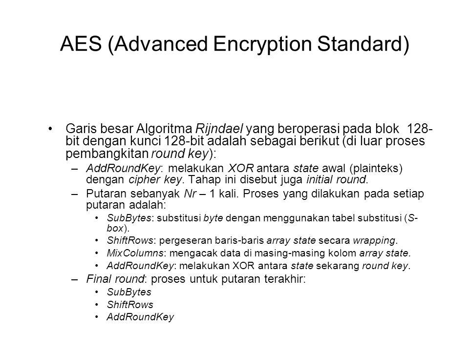 AES (Advanced Encryption Standard) Garis besar Algoritma Rijndael yang beroperasi pada blok 128- bit dengan kunci 128-bit adalah sebagai berikut (di l