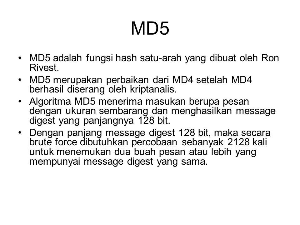 MD5 MD5 adalah fungsi hash satu-arah yang dibuat oleh Ron Rivest. MD5 merupakan perbaikan dari MD4 setelah MD4 berhasil diserang oleh kriptanalis. Alg