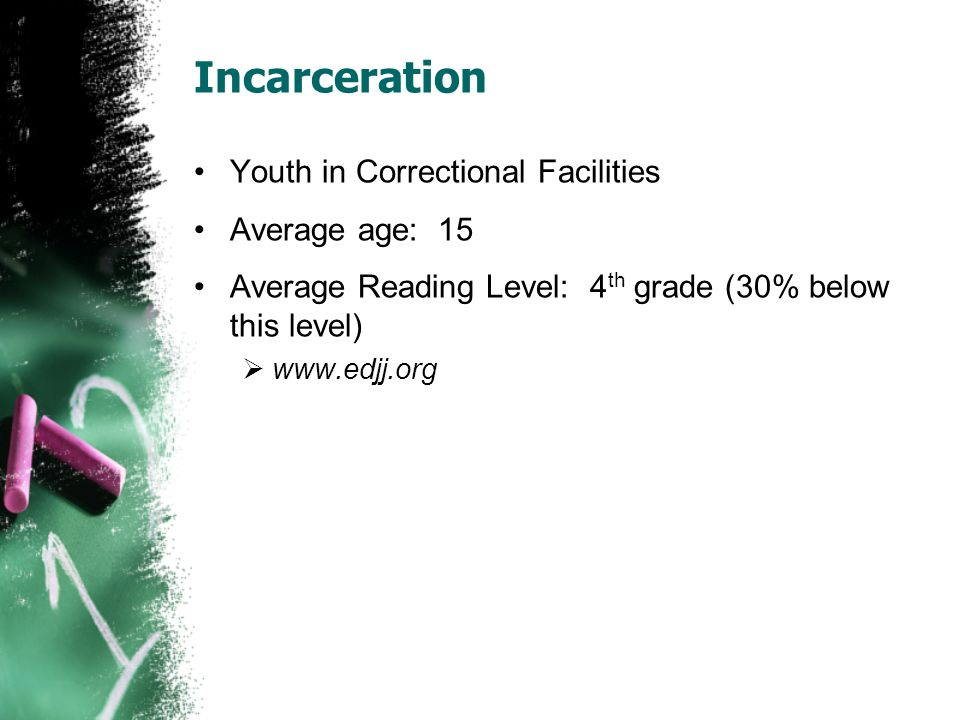 Incarceration Youth in Correctional Facilities Average age: 15 Average Reading Level: 4 th grade (30% below this level)  www.edjj.org
