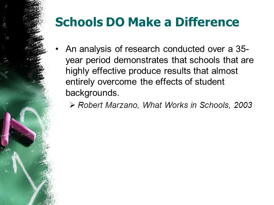 Schools DO Make a Difference An analysis of research conducted over a 35- year period demonstrates that schools that are highly effective produce results that almost entirely overcome the effects of student backgrounds.