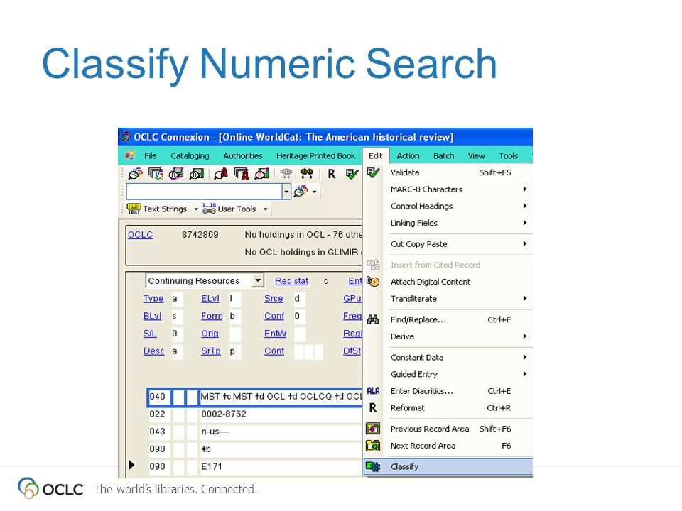 The world's libraries. Connected. Classify Numeric Search