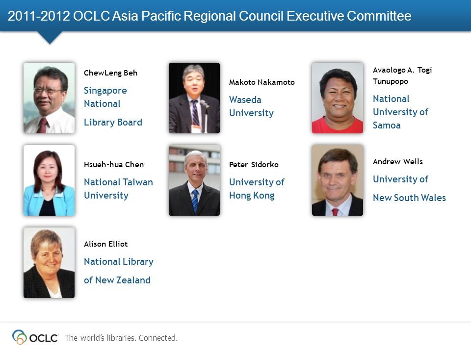 The world's libraries. Connected. 2011-2012 OCLC Asia Pacific Regional Council Executive Committee Hsueh-hua Chen National Taiwan University Andrew We