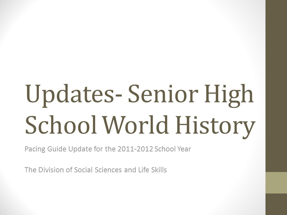 The Need for Pacing Guide Revision for Senior High School World History As M-DCPS Transitions from the Competency-Based Curriculum (CBC's) to the Next Generation Sunshine State Standards for Social Studies (NGSSS-SS) for the K-12 Social Studies required courses, certain learning gaps for students will occur.