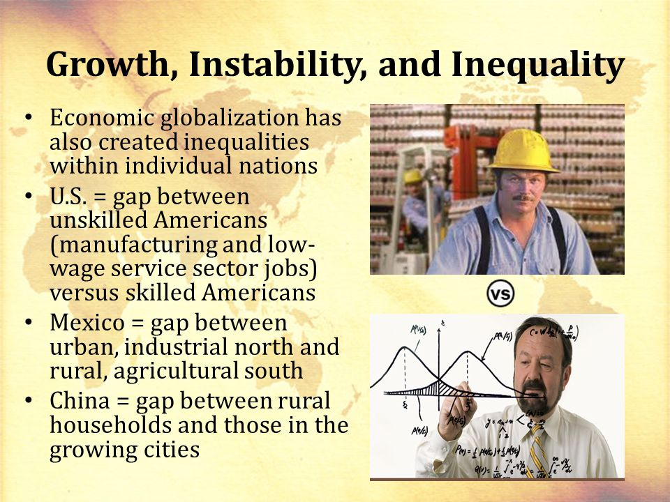 Growth, Instability, and Inequality Economic globalization has also created inequalities within individual nations U.S.