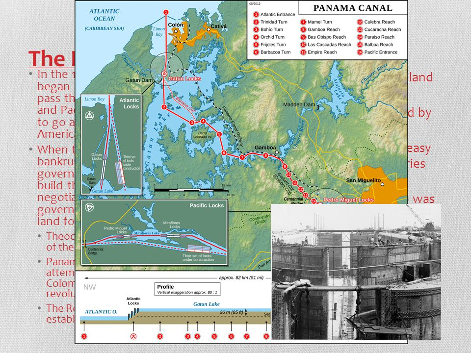 The Panama Canal In the 1880s a French company began a project to allow ships to pass through between the Atlantic and Pacific oceans without having to go all the way around South America  Panama Canal When the French company went bankrupt the American government bought the rights to build the canal and started negotiations with the Colombian government to gain use of the land for the canal.