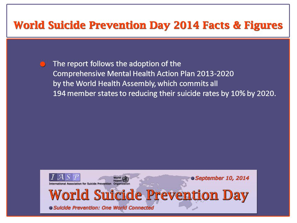 The report follows the adoption of the Comprehensive Mental Health Action Plan 2013-2020 by the World Health Assembly, which commits all 194 member states to reducing their suicide rates by 10% by 2020.