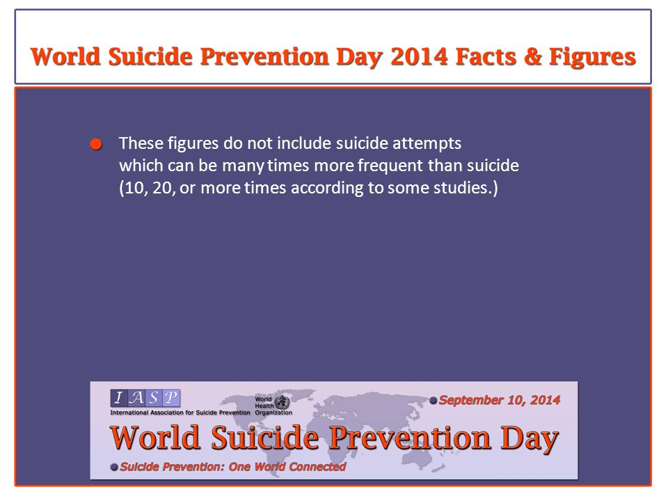 These figures do not include suicide attempts which can be many times more frequent than suicide (10, 20, or more times according to some studies.)