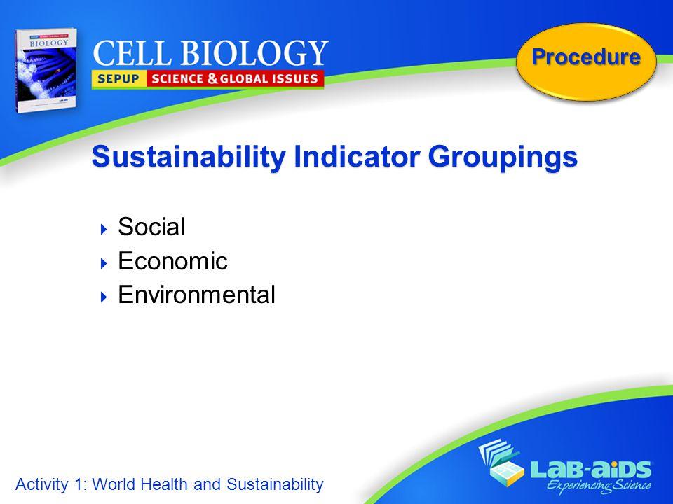 Activity 1: World Health and Sustainability Procedure  Social  Economic  Environmental Sustainability Indicator Groupings