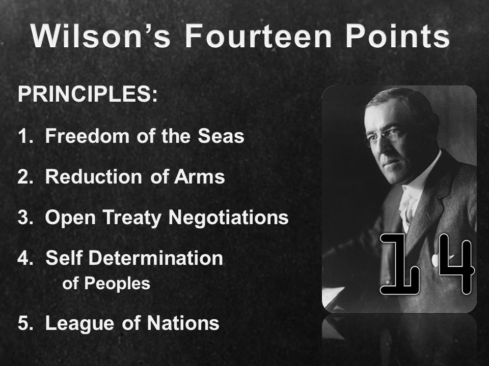 PRINCIPLES: 1.Freedom of the Seas 2.Reduction of Arms 3.Open Treaty Negotiations 4.Self Determination of Peoples 5.League of Nations