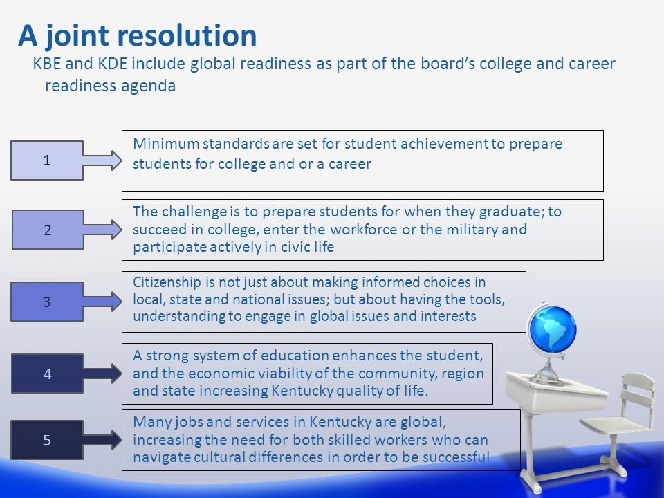A joint resolution KBE and KDE include global readiness as part of the board's college and career readiness agenda Minimum standards are set for stude