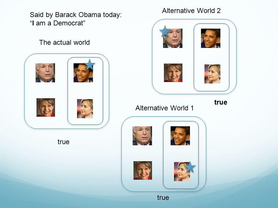 "The actual world Alternative World 2 Alternative World 1 Said by Barack Obama today: ""I am a Democrat"" true"