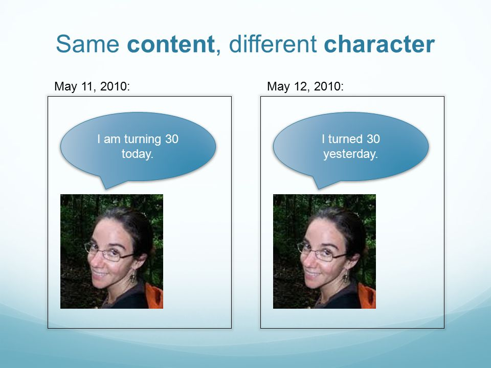 I am turning 30 today. May 11, 2010: I turned 30 yesterday. May 12, 2010: Same content, different character