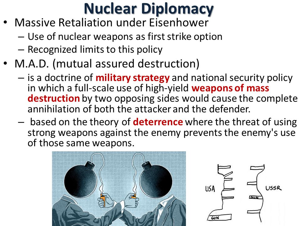 Nuclear Diplomacy Massive Retaliation under Eisenhower – Use of nuclear weapons as first strike option – Recognized limits to this policy M.A.D.