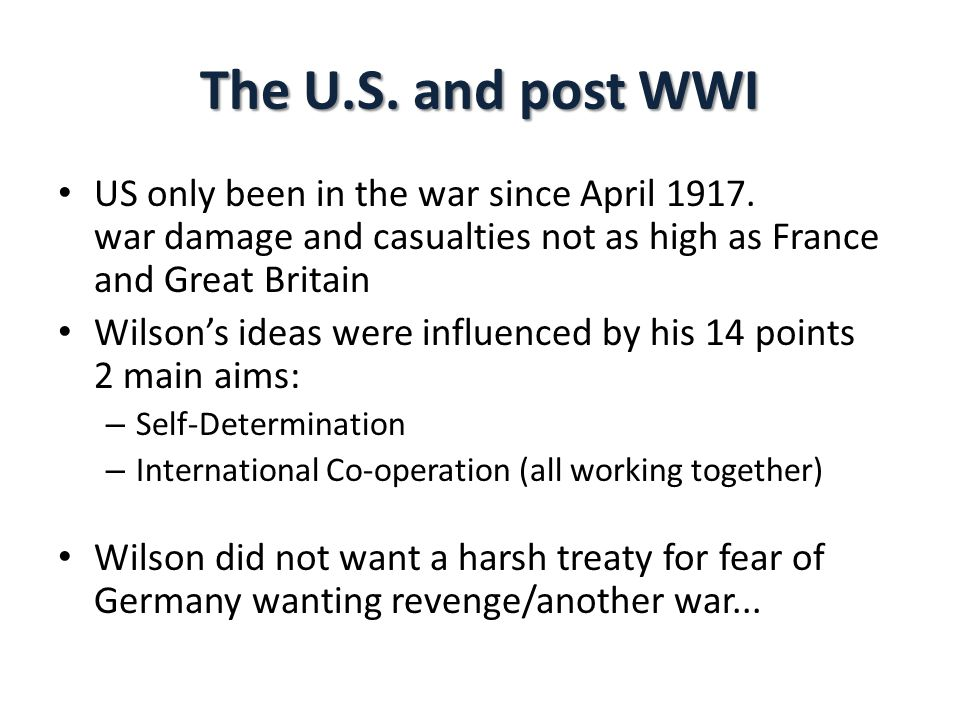 The U.S.and post WWI US only been in the war since April 1917.