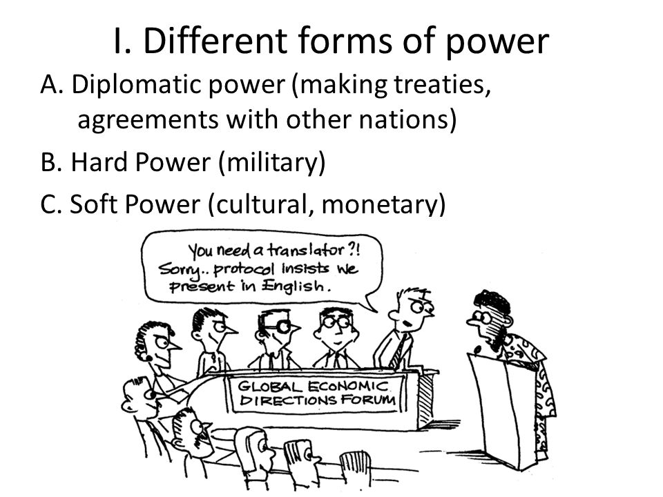 I.Different forms of power A. Diplomatic power (making treaties, agreements with other nations) B.
