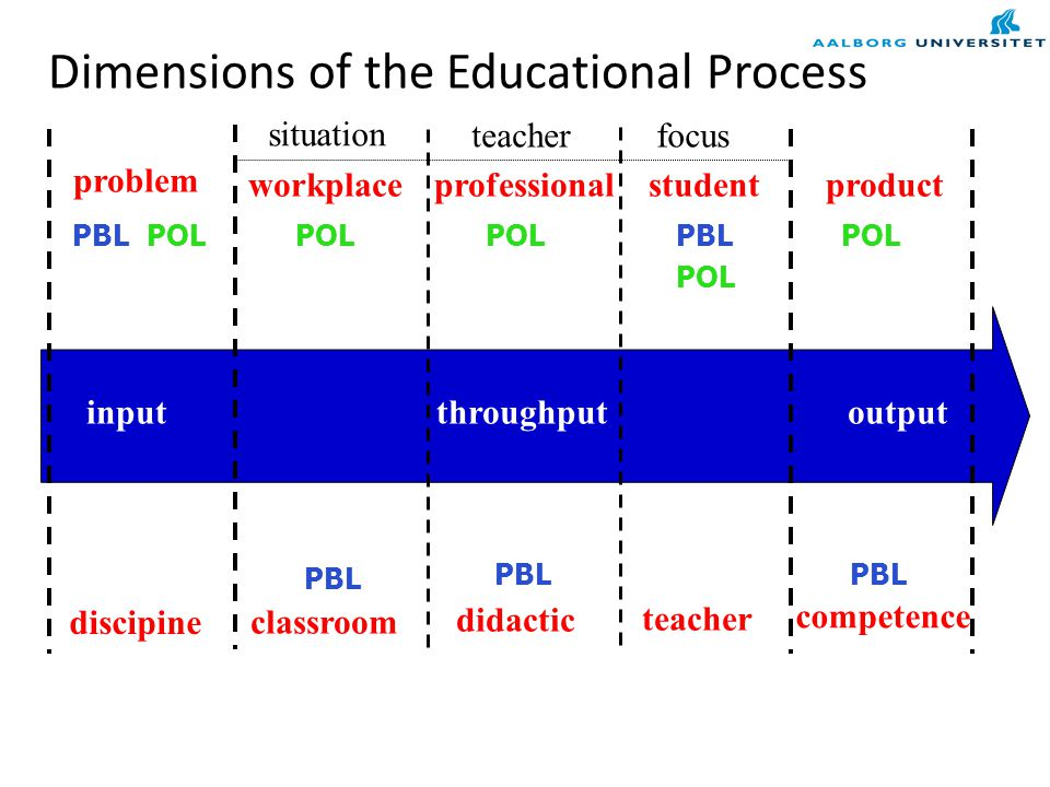 Dimensions of the Educational Process inputthroughputoutput situation teacherfocus problem discipine workplace classroom professional didactic student