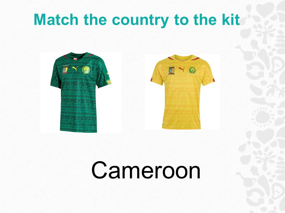 Match the country to the kit Cameroon