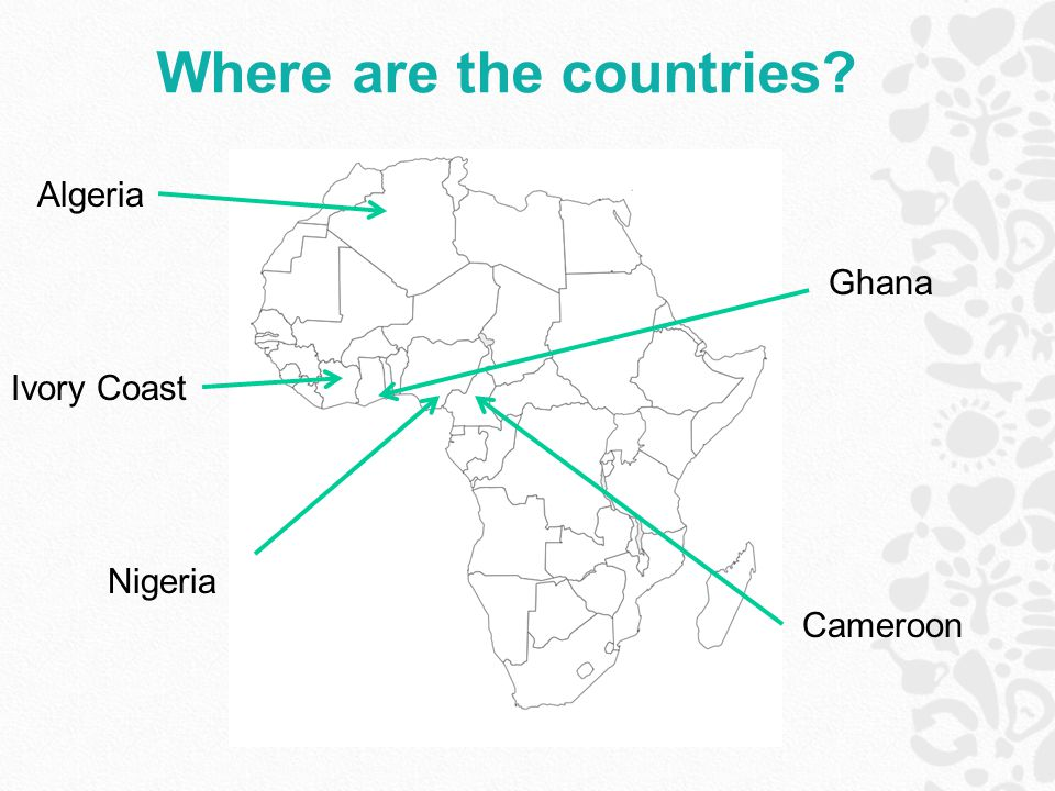 Where are the countries? Nigeria Cameroon Ghana Ivory Coast Algeria