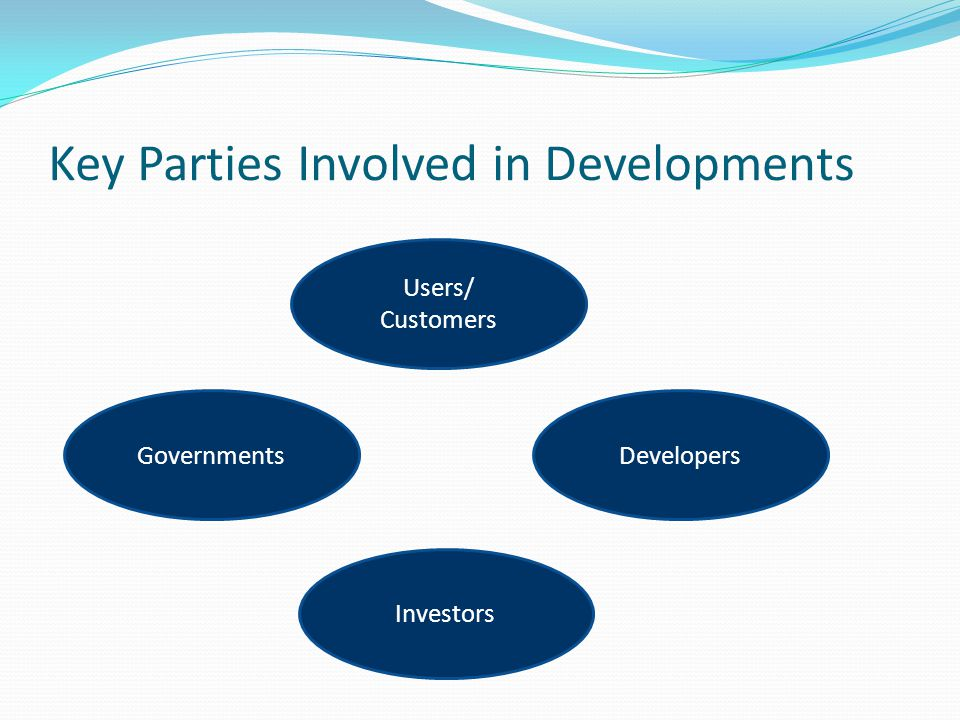 Key Parties Involved in Developments Users/ Customers GovernmentsDevelopers Investors
