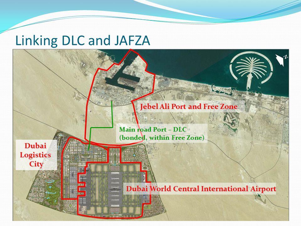 Linking DLC and JAFZA 28 Jebel Ali Port and Free Zone DubaiLogisticsCity Main road Port – DLC (bonded, within Free Zone) Dubai World Central International Airport