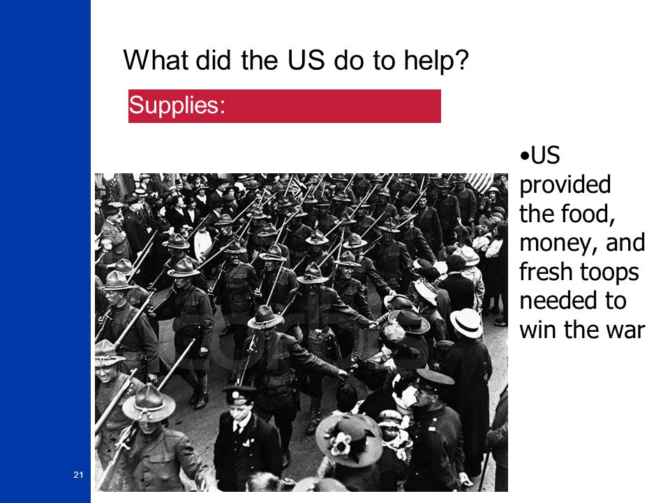 21 What did the US do to help.