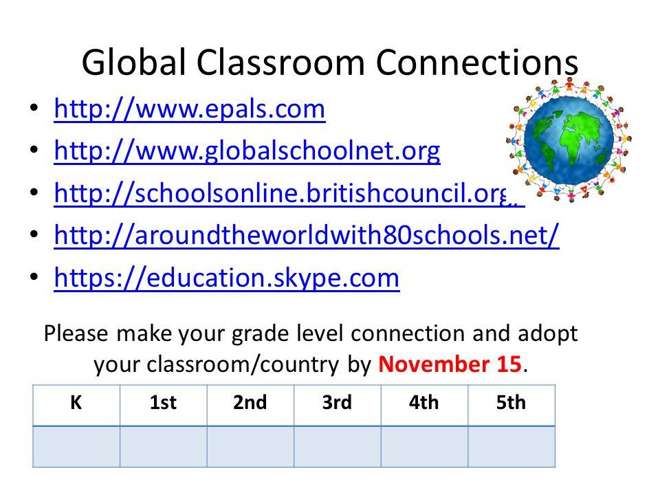 Global Classroom Connections http://www.epals.com http://www.globalschoolnet.org http://schoolsonline.britishcouncil.org/ http://aroundtheworldwith80s
