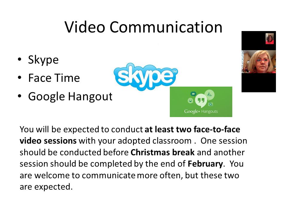 Video Communication Skype Face Time Google Hangout You will be expected to conduct at least two face-to-face video sessions with your adopted classroo