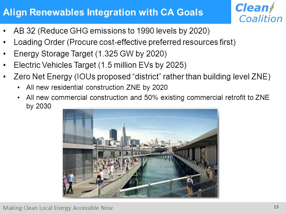 Making Clean Local Energy Accessible Now 13 Align Renewables Integration with CA Goals AB 32 (Reduce GHG emissions to 1990 levels by 2020) Loading Order (Procure cost-effective preferred resources first) Energy Storage Target (1.325 GW by 2020) Electric Vehicles Target (1.5 million EVs by 2025) Zero Net Energy (IOUs proposed district rather than building level ZNE) All new residential construction ZNE by 2020 All new commercial construction and 50% existing commercial retrofit to ZNE by 2030