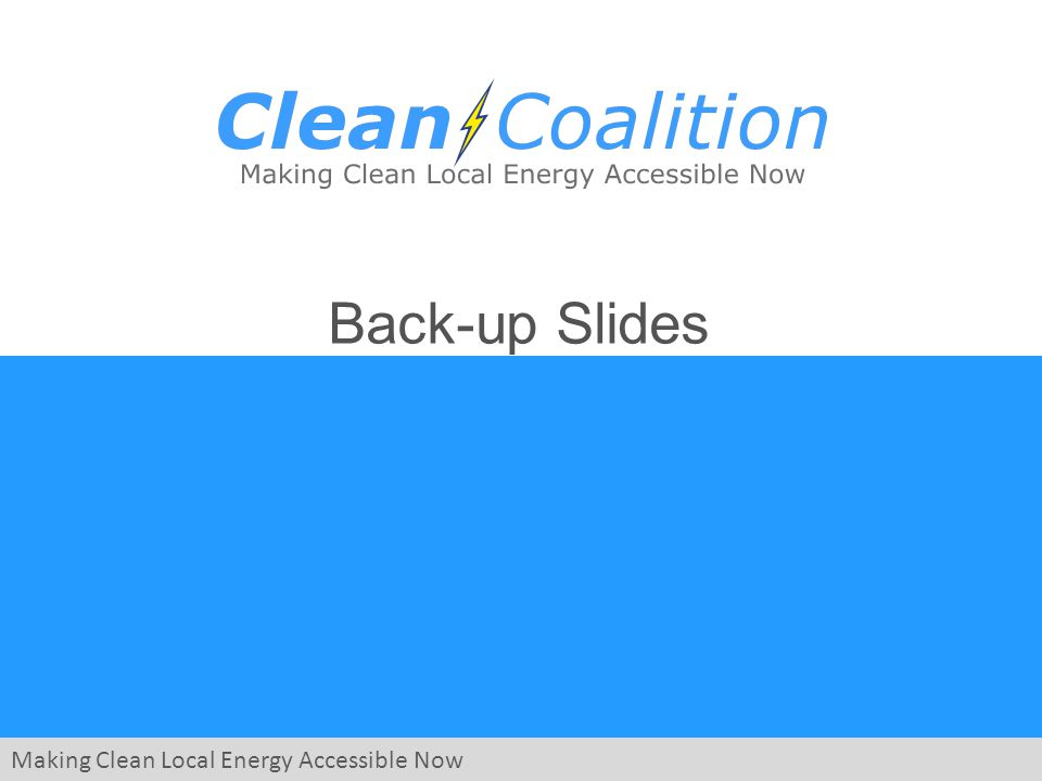 Making Clean Local Energy Accessible Now Back-up Slides