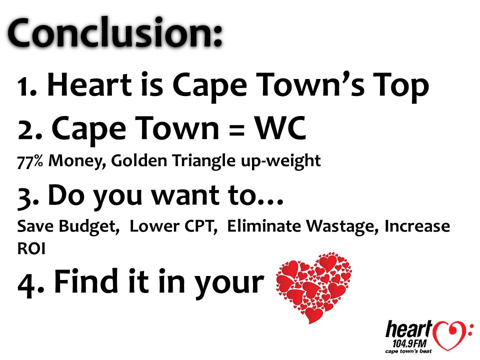 Conclusion: 1. Heart is Cape Town's Top 2. Cape Town = WC 77% Money, Golden Triangle up-weight 3.