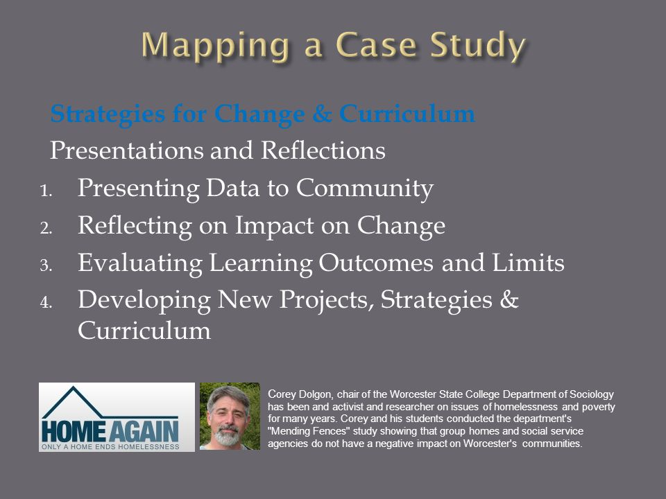Strategies for Change & Curriculum Presentations and Reflections 1. Presenting Data to Community 2. Reflecting on Impact on Change 3. Evaluating Learn