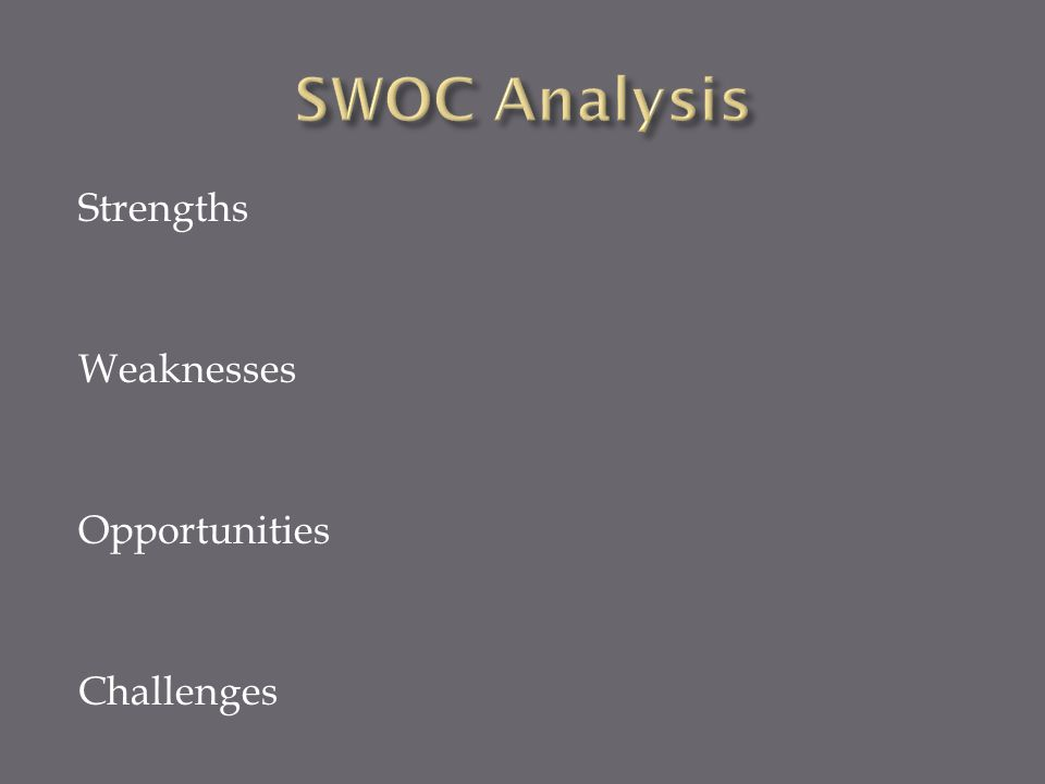 Strengths Weaknesses Opportunities Challenges