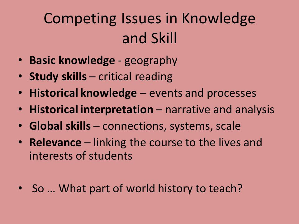 Competing Issues in Knowledge and Skill Basic knowledge - geography Study skills – critical reading Historical knowledge – events and processes Histor