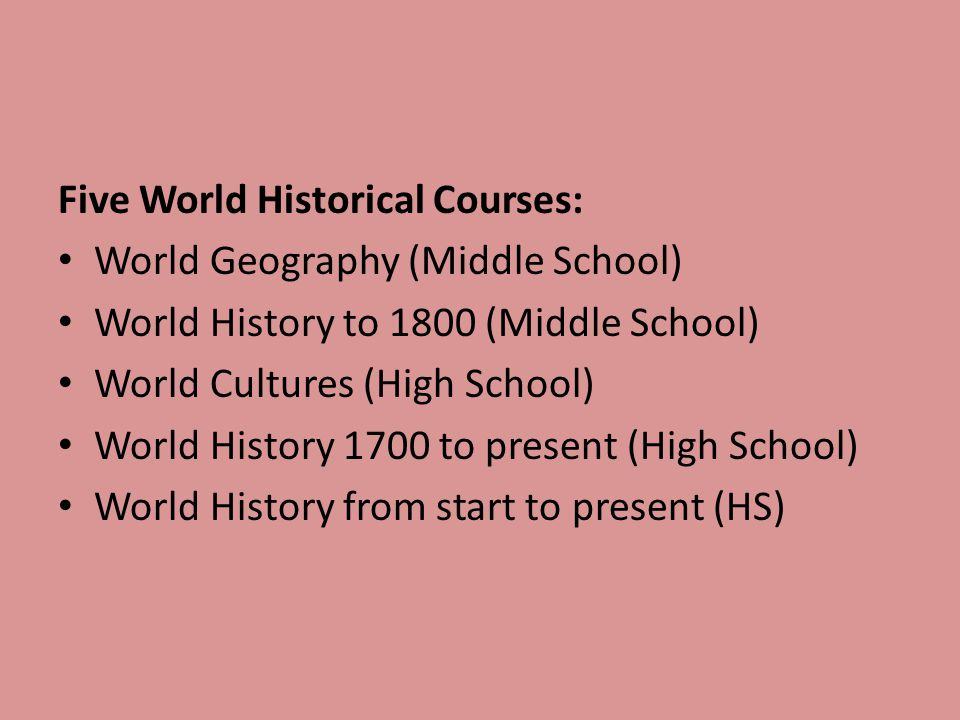 Five World Historical Courses: World Geography (Middle School) World History to 1800 (Middle School) World Cultures (High School) World History 1700 t