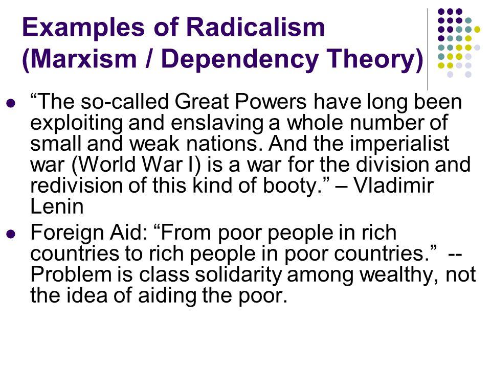"c. ""Radicalism"" – actually Marxism / Dependency Theory RealismLiberalism""Radicalism"" World System AnarchyCommunityHierarchy Key Actors StatesStates, I"