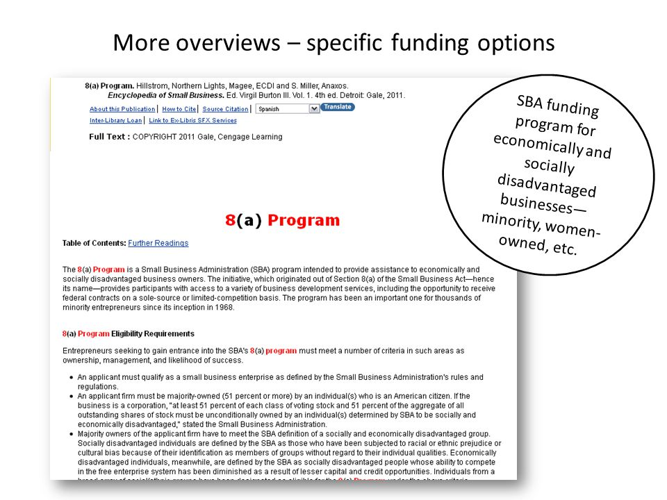 More overviews – specific funding options SBA funding program for economically and socially disadvantaged businesses— minority, women- owned, etc.