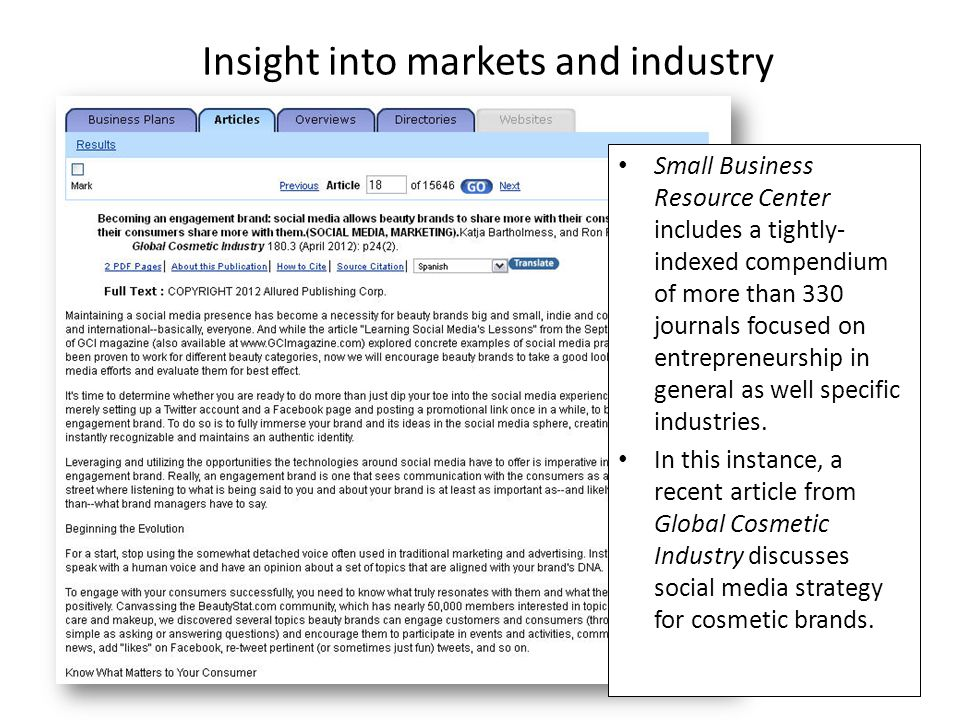 Insight into markets and industry Small Business Resource Center includes a tightly- indexed compendium of more than 330 journals focused on entrepren