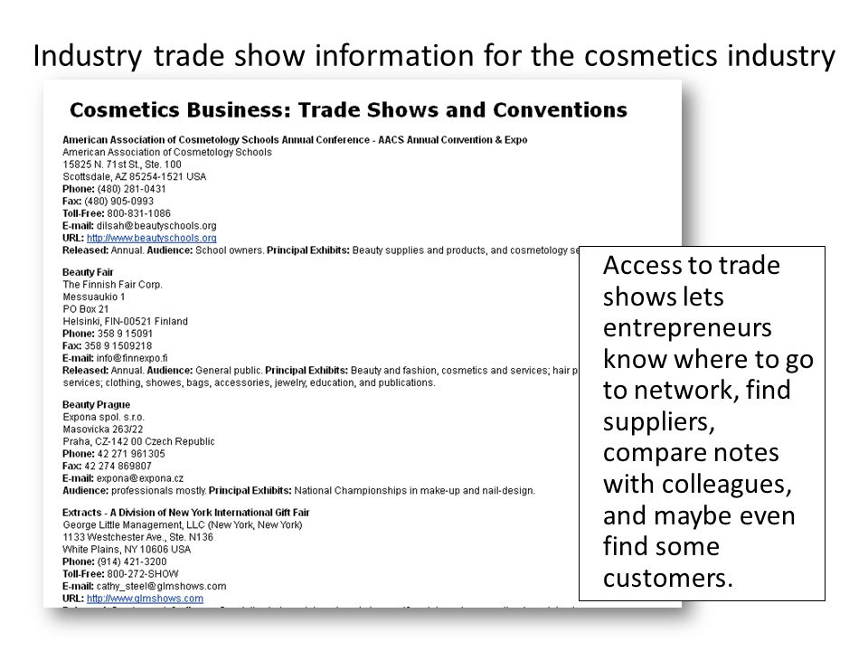 Industry trade show information for the cosmetics industry Access to trade shows lets entrepreneurs know where to go to network, find suppliers, compare notes with colleagues, and maybe even find some customers.