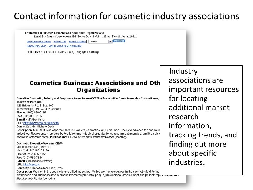 Contact information for cosmetic industry associations Industry associations are important resources for locating additional market research information, tracking trends, and finding out more about specific industries.