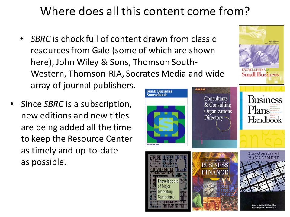 Where does all this content come from? SBRC is chock full of content drawn from classic resources from Gale (some of which are shown here), John Wiley