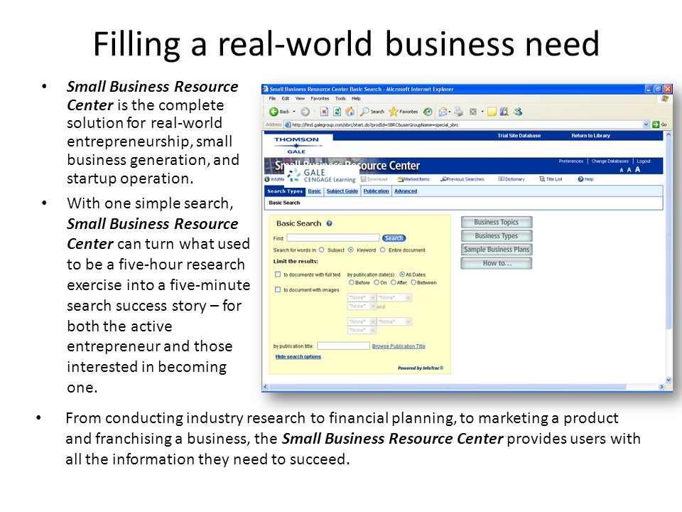 Filling a real-world business need Small Business Resource Center is the complete solution for real-world entrepreneurship, small business generation,
