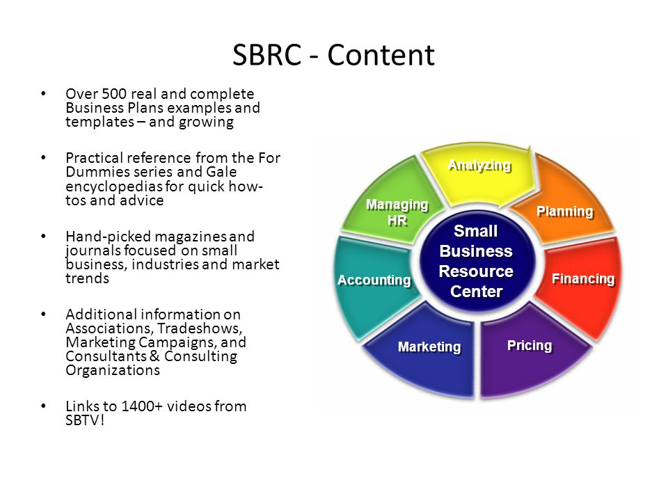 SBRC - Content Over 500 real and complete Business Plans examples and templates – and growing Practical reference from the For Dummies series and Gale