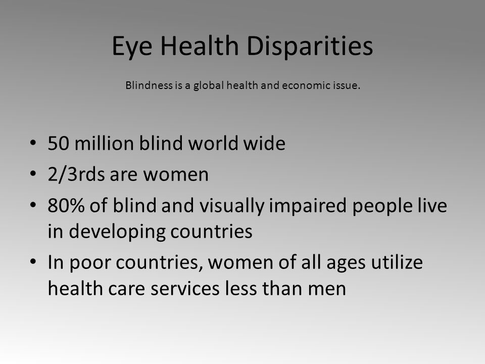 Eye Health Disparities 50 million blind world wide 2/3rds are women 80% of blind and visually impaired people live in developing countries In poor countries, women of all ages utilize health care services less than men Blindness is a global health and economic issue.
