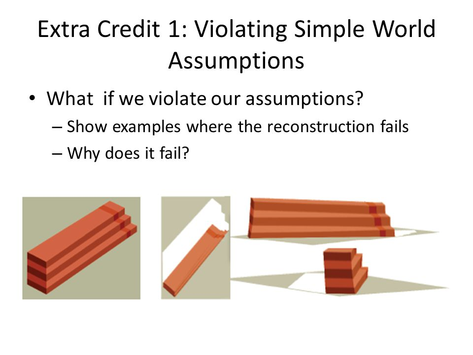 Extra Credit 1: Violating Simple World Assumptions What if we violate our assumptions? – Show examples where the reconstruction fails – Why does it fa