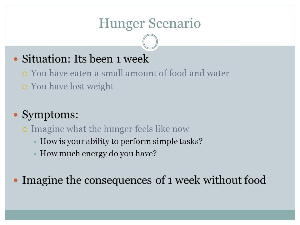 Hunger Scenario Situation: Its been 1 year ….