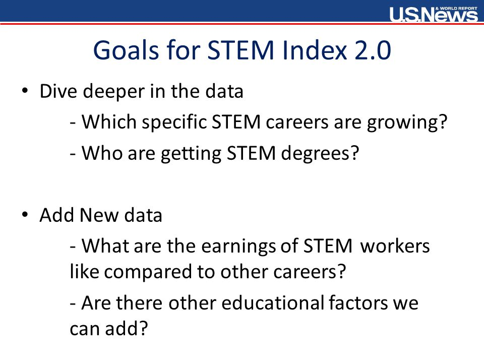 Goals for STEM Index 2.0 Dive deeper in the data - Which specific STEM careers are growing.
