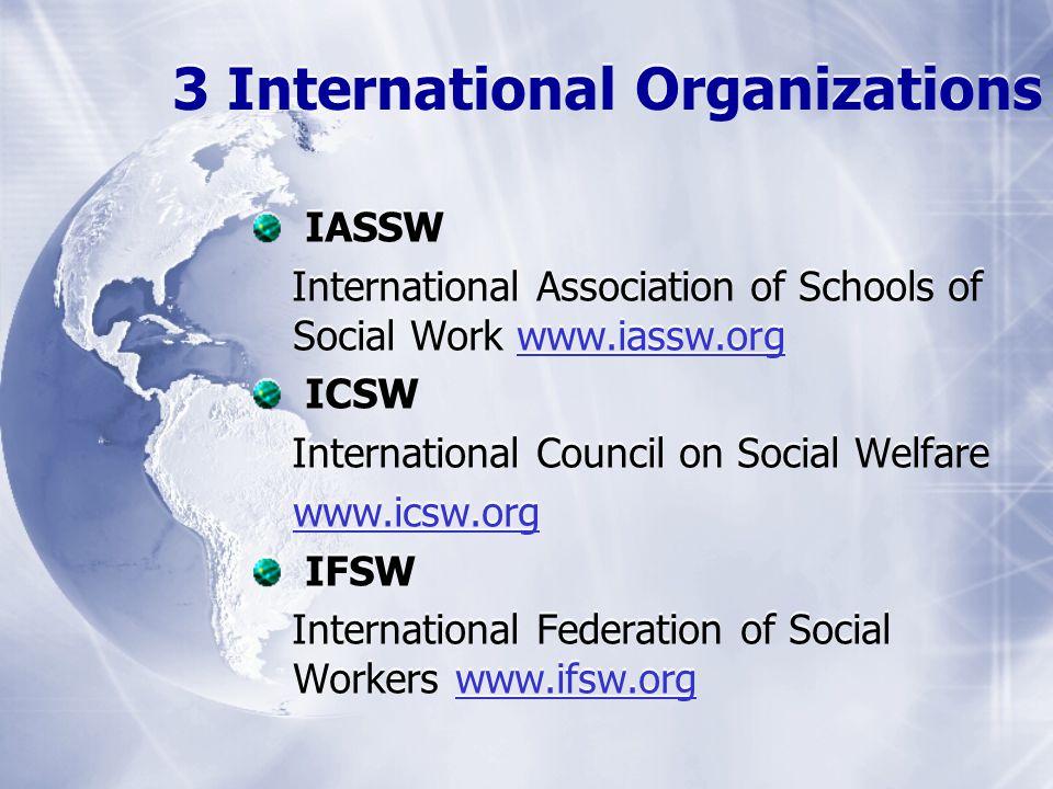 3 International Organizations IASSW International Association of Schools of Social Work www.iassw.orgwww.iassw.org ICSW International Council on Social Welfare www.icsw.org IFSW International Federation of Social Workers www.ifsw.orgwww.ifsw.org IASSW International Association of Schools of Social Work www.iassw.orgwww.iassw.org ICSW International Council on Social Welfare www.icsw.org IFSW International Federation of Social Workers www.ifsw.orgwww.ifsw.org