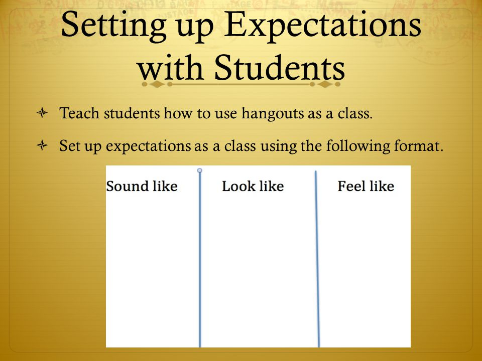 Setting up Expectations with Students  Teach students how to use hangouts as a class.